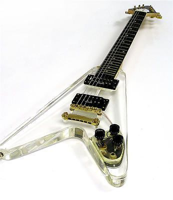 Galveston Clear Acrylic/Lucite Flying V Electric Guitar www