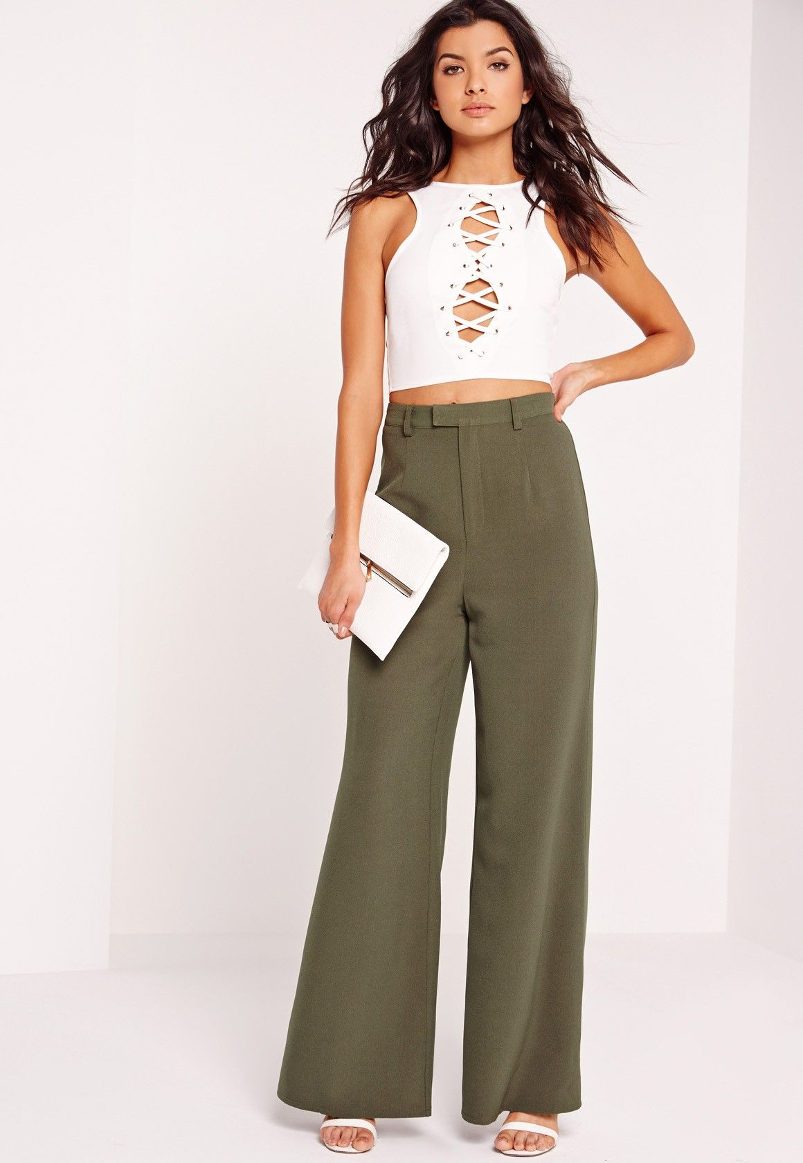 877663f333bd Missguided Petite Premium Crepe Wide Leg Trousers White In - Year of ...
