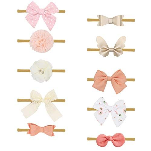10-Pack Baby Girl Headbands and Bows Newborn Infant Toddler Hair Accessories