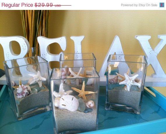 On Sale Custom Beach Wedding Real Shells Sand Starfish Seaglass Squared Glass Vase Home Decor Centerpiece Beach Display. $25.49, via Etsy.