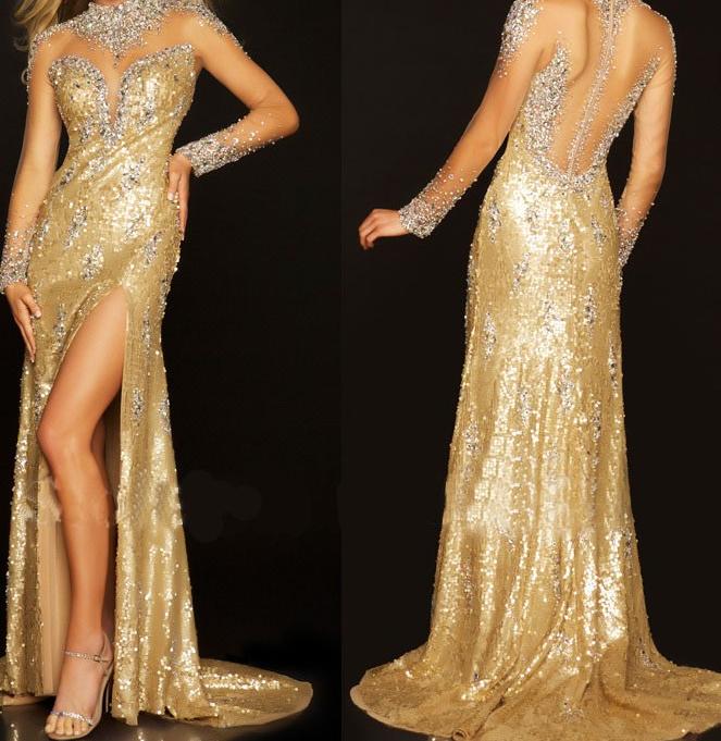 Gold Sequin bridesmaid dress,High Neck bridesmaid dress,Short ...