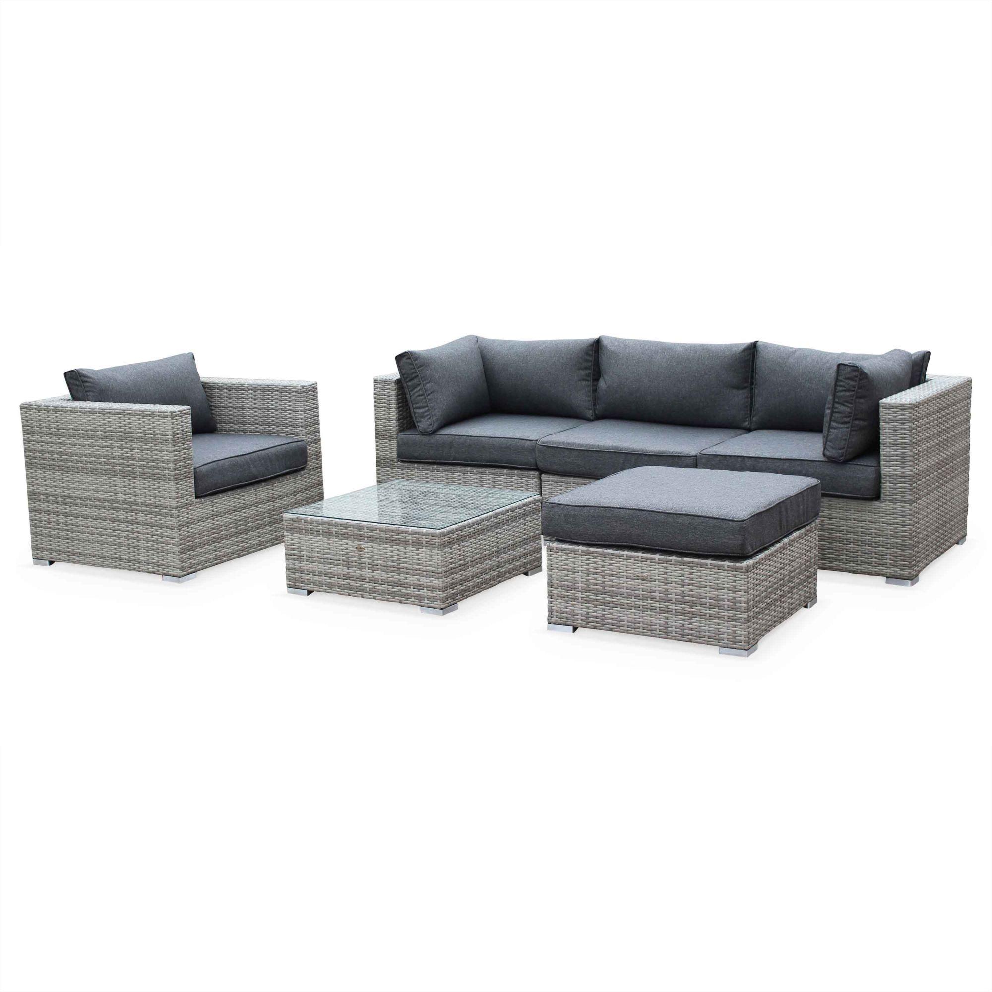 Caligari 5 Seater Outdoor Lounge Set Brown Wicker Brown Cushions Aluminium Frame Outdoor Lounge Set Garden Sofa Set Outdoor Lounge