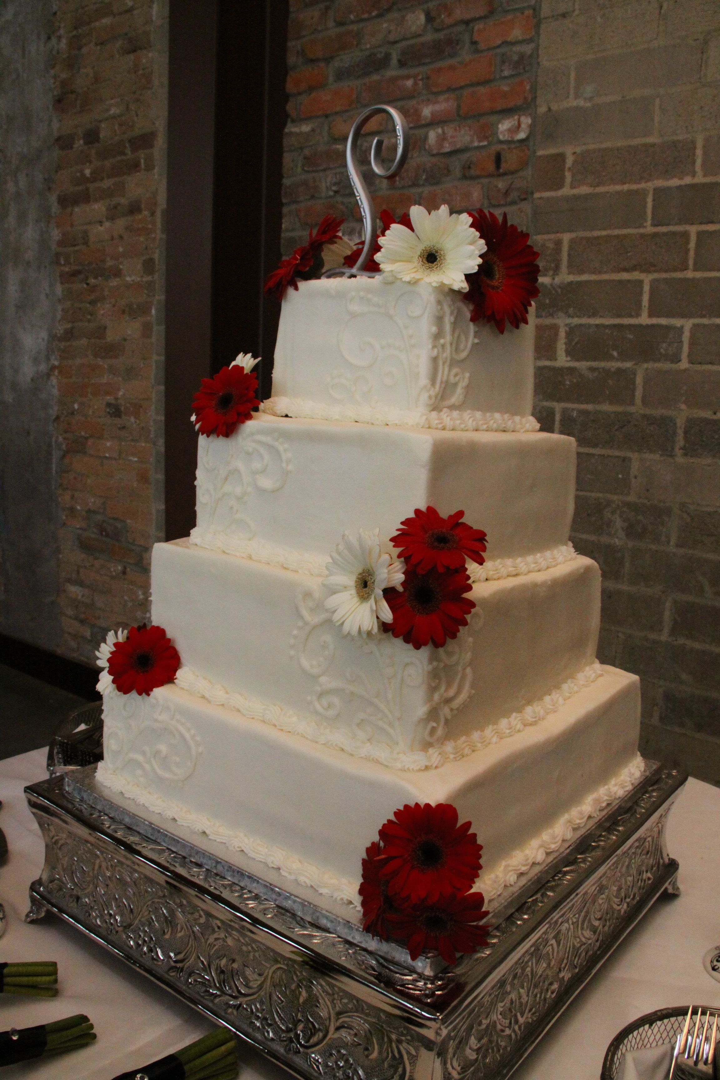 square 4 tier wedding cakes 4 tier square wedding cake with design and white 20343
