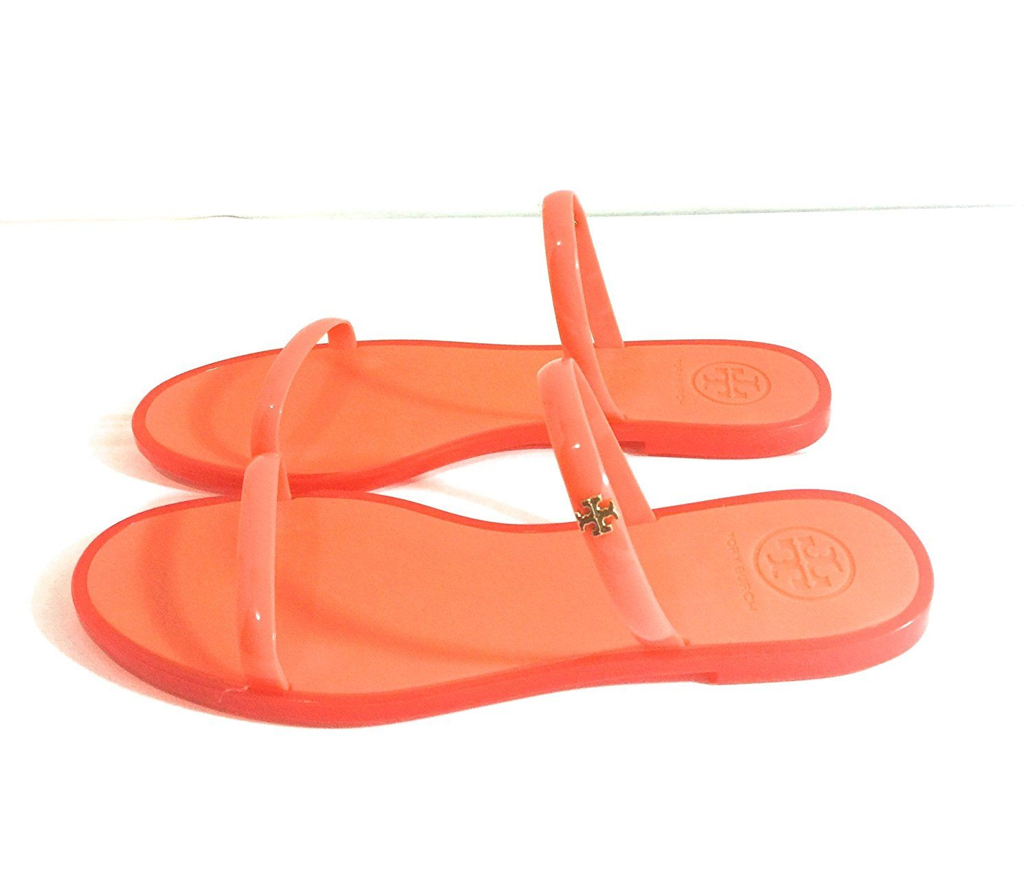 0ac7e8d8a875 ... ireland tory burch womens poppy coral two band jelly slide sandals size  7 2753b a5921