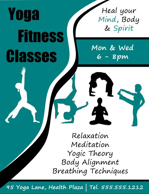 Yoga Fitness Classes Flyer Template Flyertutor Http