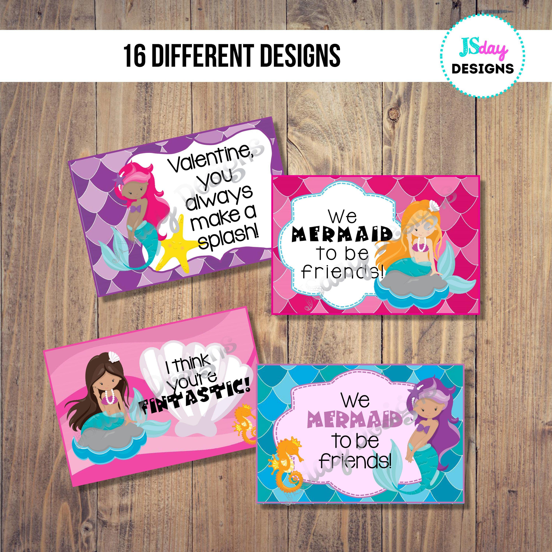 Mermaid kids Valentine Card; Ariel; Valentine\'s Day; Valentines ...