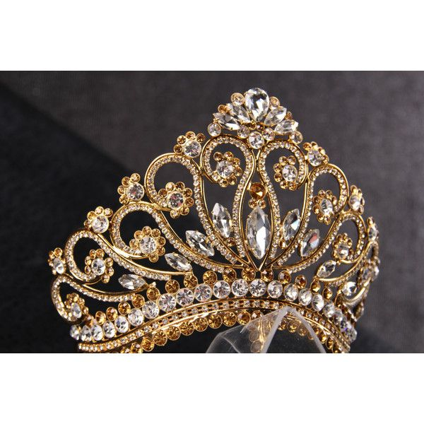 Unique handmade princess tiara crown wedding tiara, crystal gold tiara... (1.055 BRL) ❤ liked on Polyvore featuring tiara, accessories, crowns, jewelry and medieval