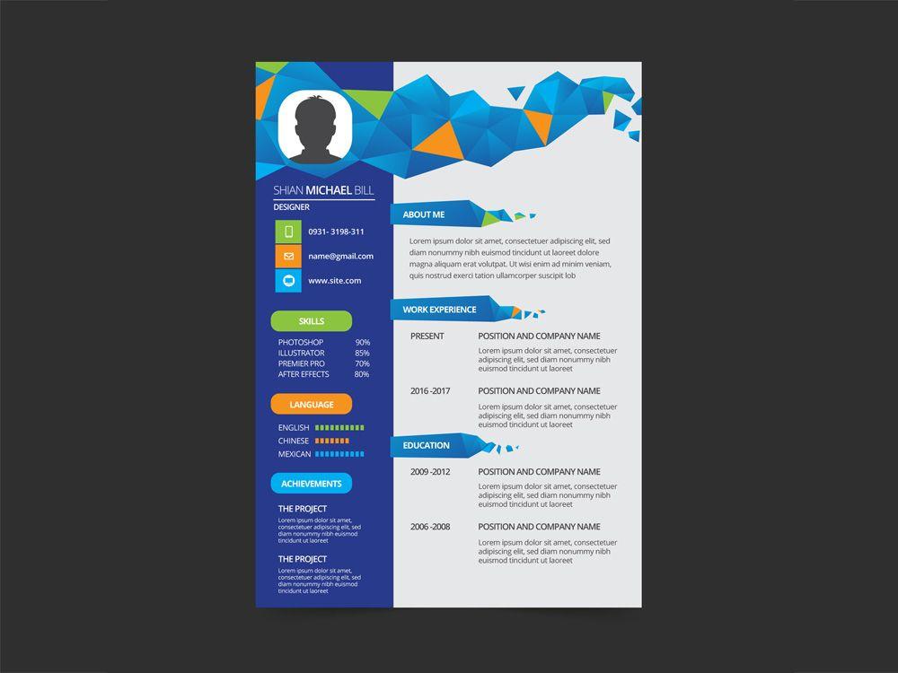 Free Geometric Resume Template With Flat Style Design Cv Resume Print Desain Cv Desain