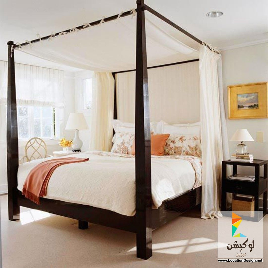 there is something utterly romantic and beautiful in a poster bed with curtains draped dramatically with the peachy cream against the dark wood in a simple