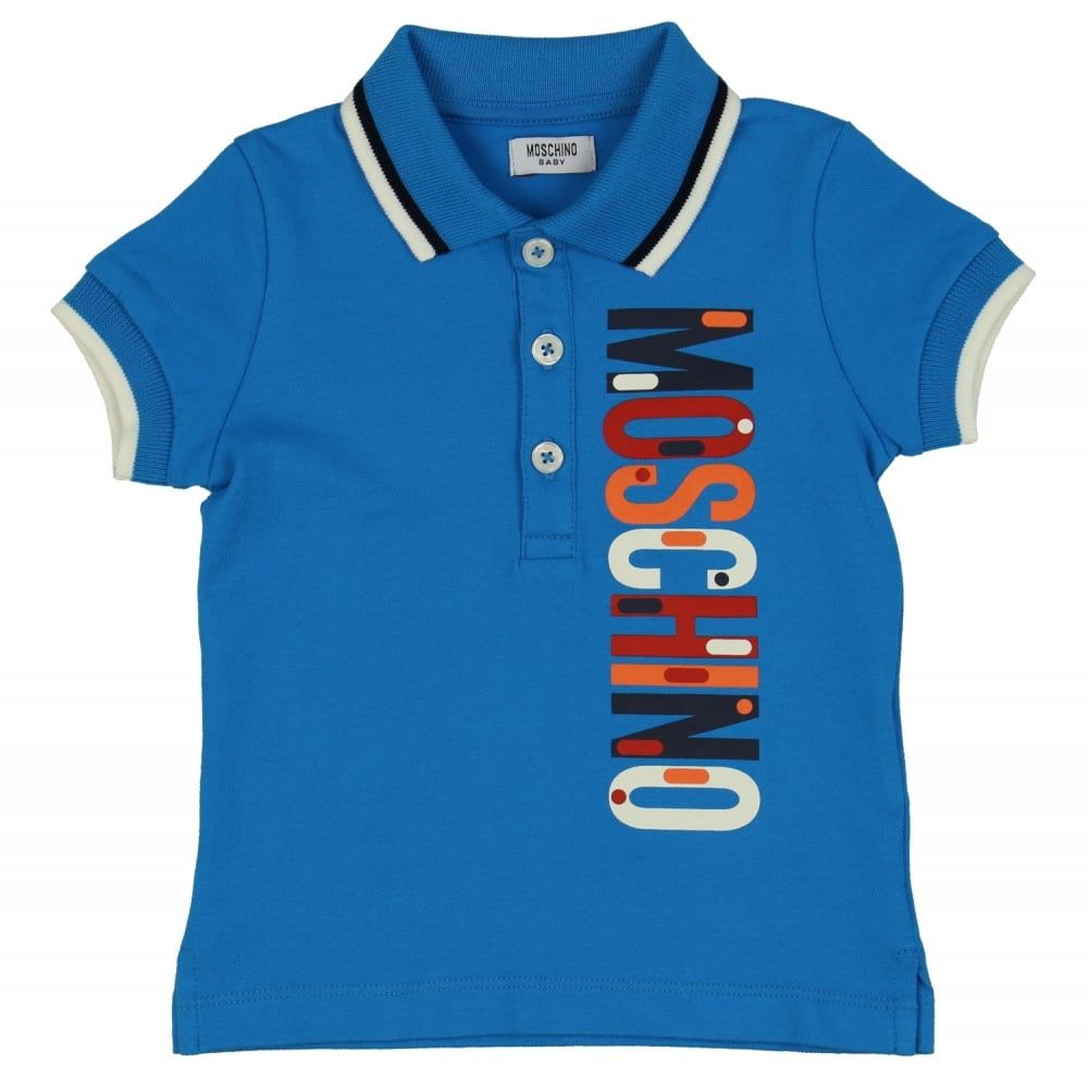 4c351a48 Baby Boys Blue Polo Shirt with Multi-Coloured Logo Print | Moschino ...