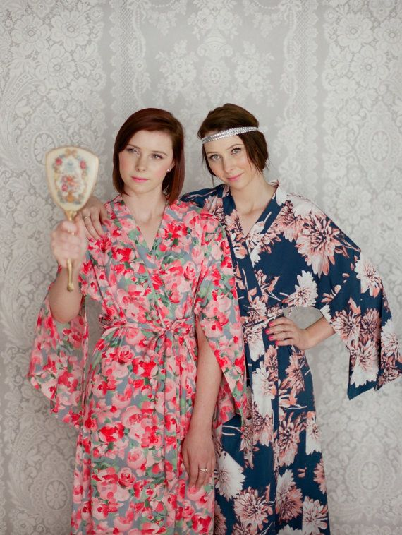 4 custom full length bridesmaids kimono robes. Set of 4 robes. Bridal party  robes and dressing gowns for weddings mornings 82e212092
