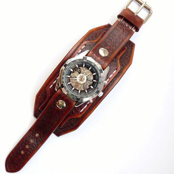 últimas tendencias de 2019 el más nuevo clásico Leather Cuff Watch, Vintage Brown Leather Cuff   pulcetas ...