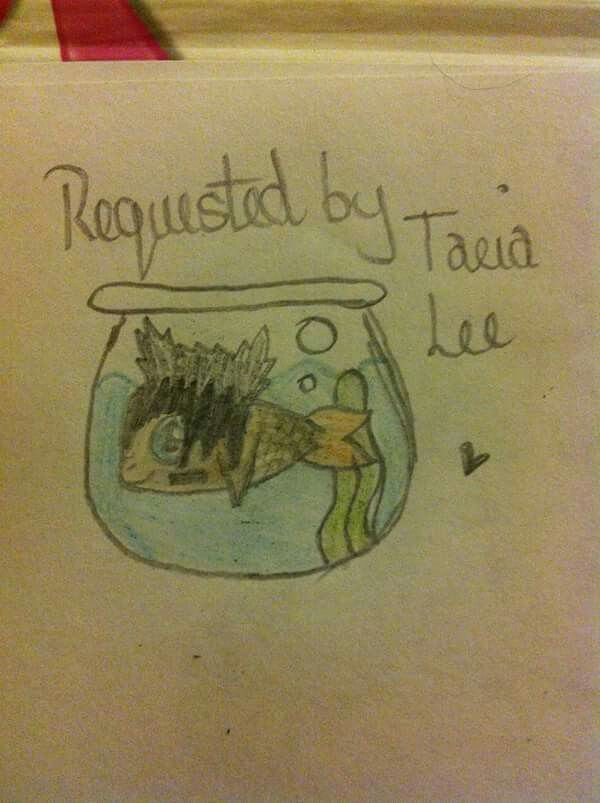 Ok his was drawn by Everything Johnnie Guilbert facebook page after she put a picture of a cat as johnnie guilbert and asked for requests for other animals, i requested a gold fish XD