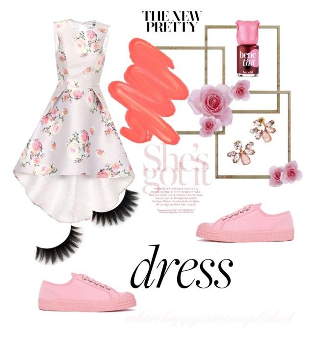 """""""#prettydress"""" by wherehappyisaccomplished ❤ liked on Polyvore featuring Chi Chi, Obsessive Compulsive Cosmetics, Marchesa, Benefit and Novesta"""