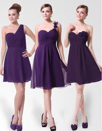 Short Chiffon Purple Bridesmaid Dresses