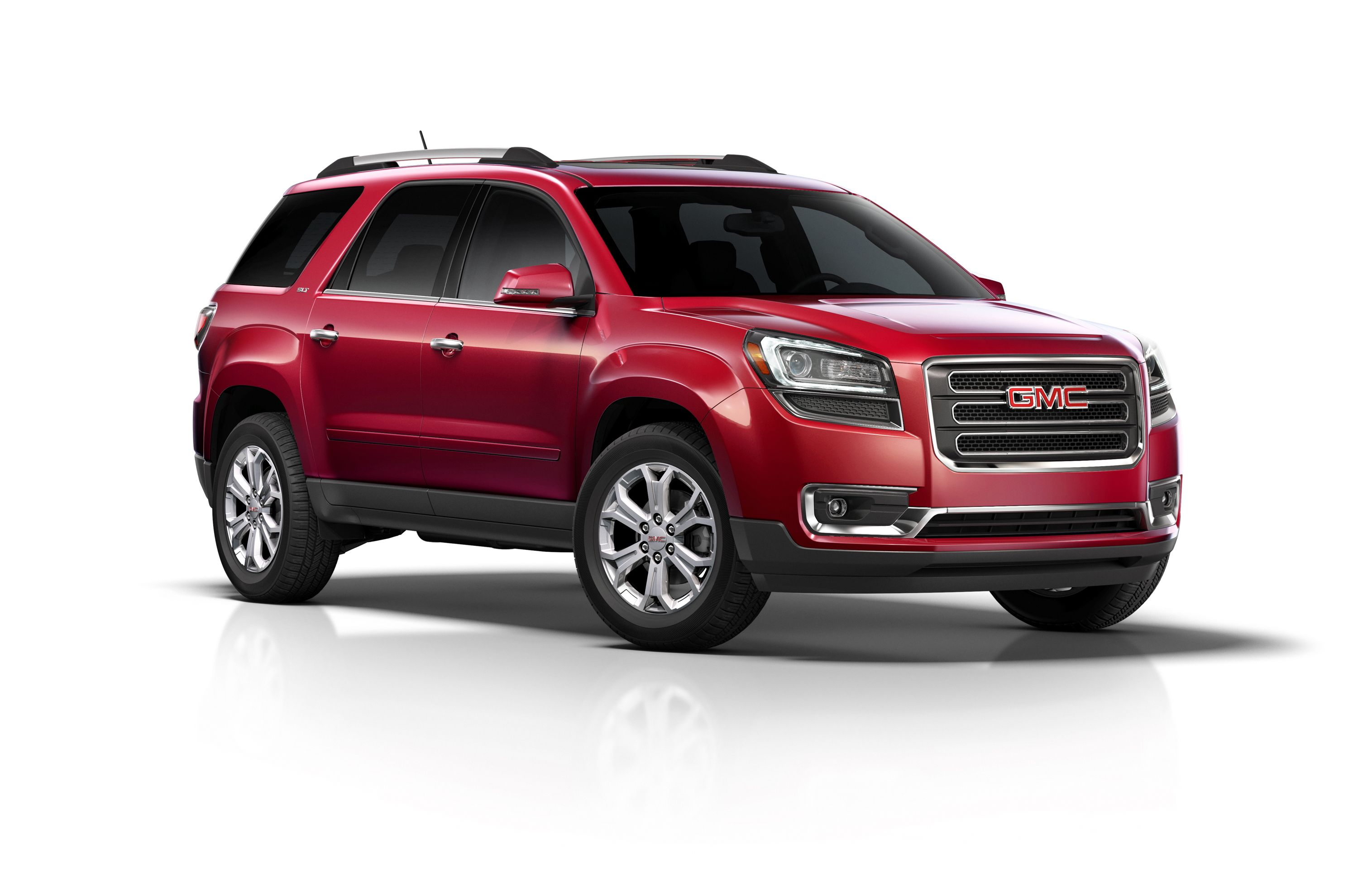 2014 Gmc Acadia Slt 3 4 Front In Red Acadia Car Gmc Buick Gmc