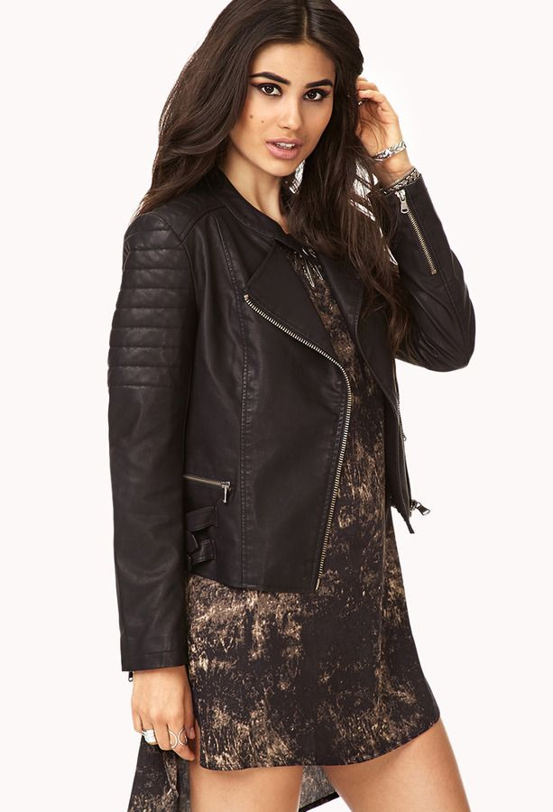 eeddc832c FOREVER 21 Biker Babe Faux Leather Jacket | Want | Faux leather ...