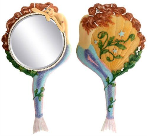Mermaid Hand Mirror Collectible Sea Nymph Decoration