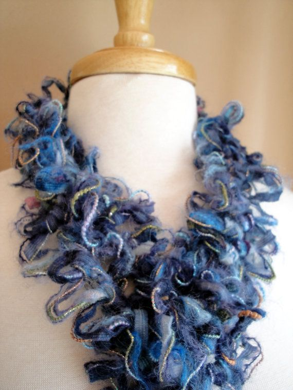 Ocean blue Hairpin Lace necklace scarf