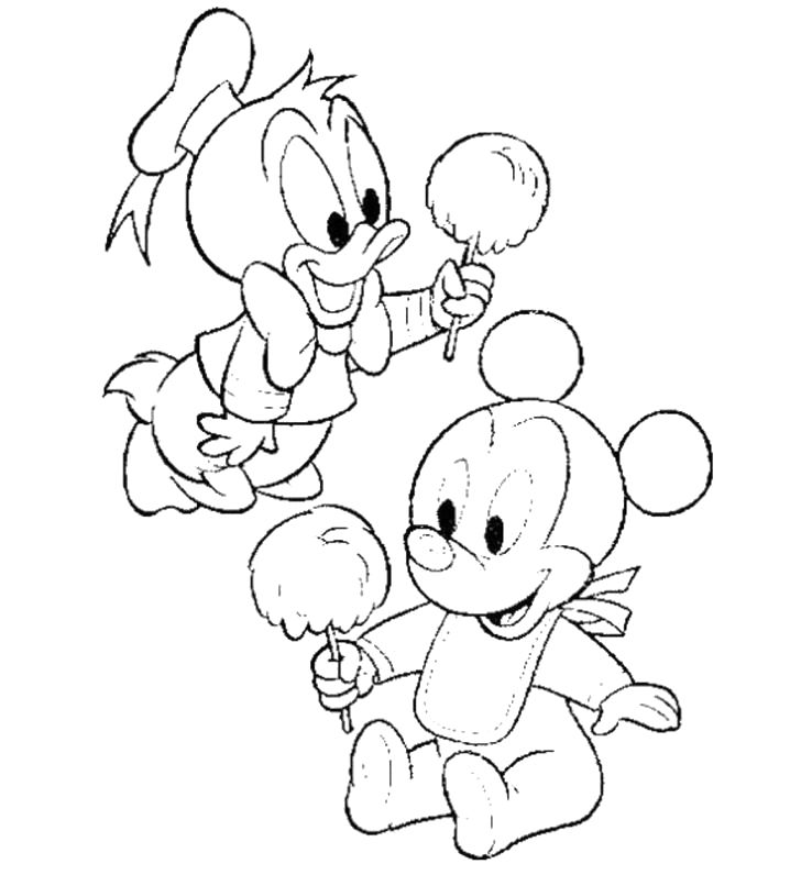 Baby Mickey Mouse Eating Cotton Candy Coloring For Kids Cizim Desenler Nakis Desenleri
