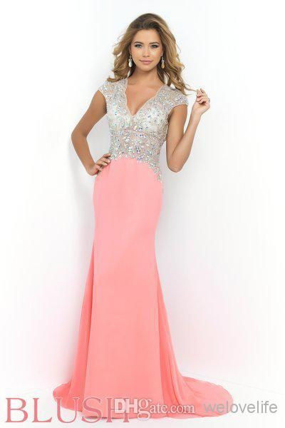 Wholesale Prom Dresses - Buy 2015 Sheath Hollow Backless Prom Dresses V Neck Rhinestone Sequins Beading Chiffon Floor Length Charming New Formal Dress Evening Gowns 9928, $140.28 | DHgate