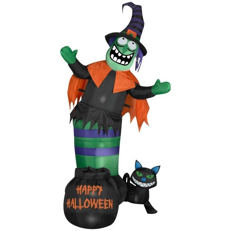 halloween witch decoration scene inflatable lawn decor black cat trick or treat - Halloween Witch Decoration