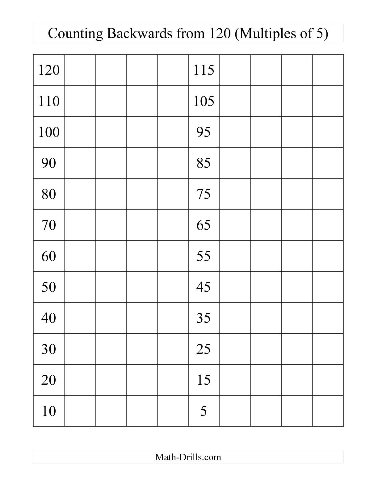 The backwards 120 chart with multiples of 5 c math worksheet the backwards 120 chart with multiples of 5 c math worksheet from the number nvjuhfo Gallery