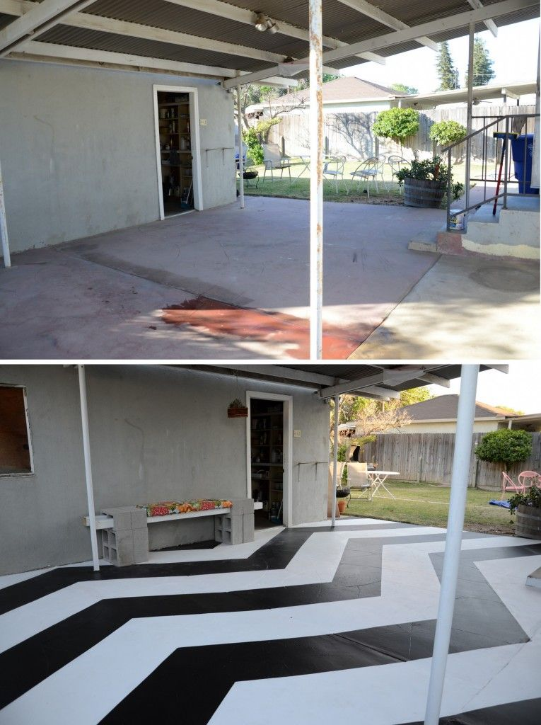 Outdoor patio transformation - oh what a little paint can do! www