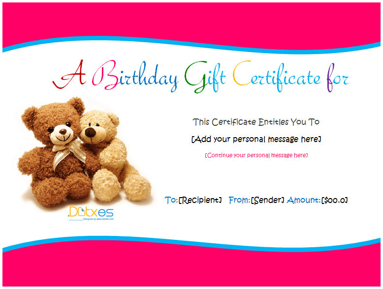 Birthday Gift Certificate Template For Kids
