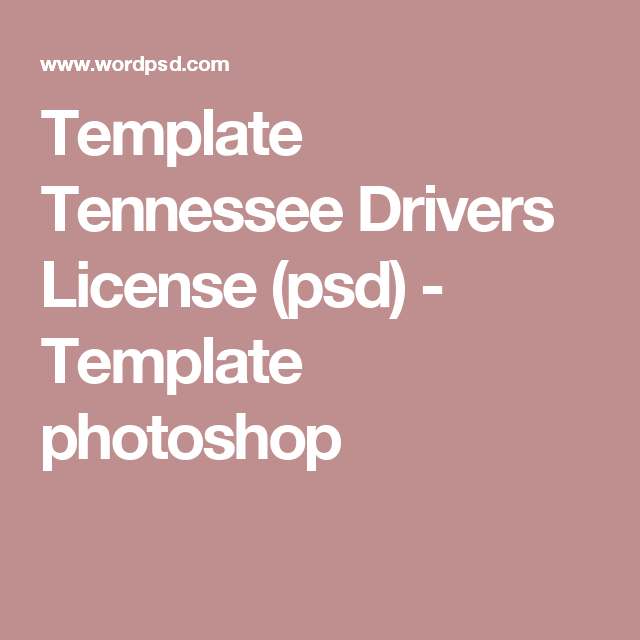 Template Tennessee Drivers License Psd Drivers License Psd