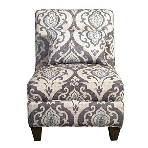 Modern Ikat Blue Slate Large Accent Chair Features Grey Floral