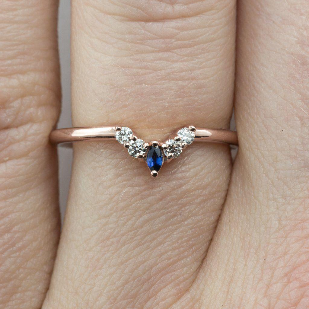 846b888c42a1a Small Etta sapphire and diamond basket contour band, 14k Rose Gold ...