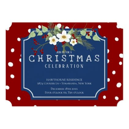 Holly snowflake red holiday flower christmas party card floral holly snowflake red holiday flower christmas party card m4hsunfo