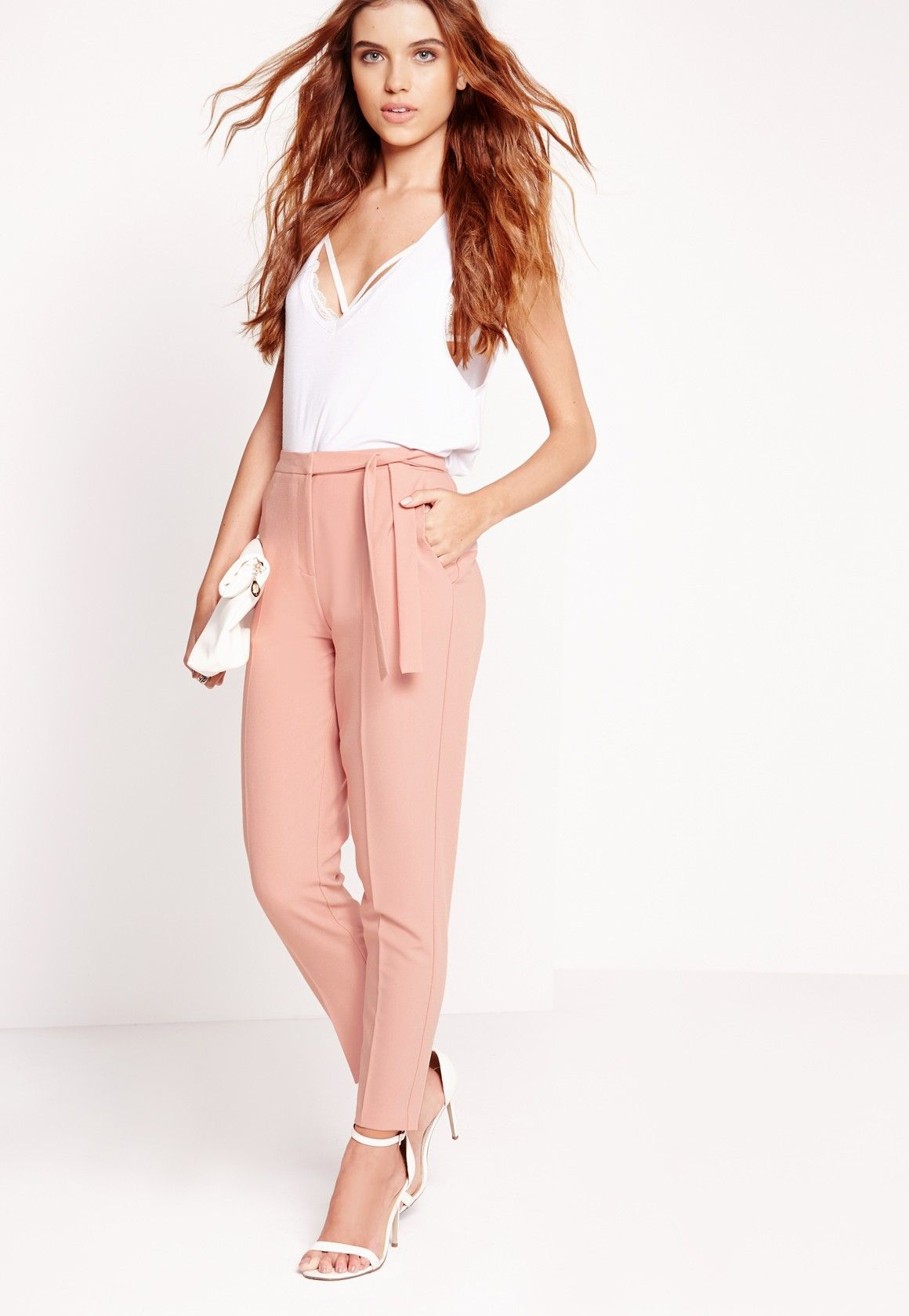 fc2253c2e369 Missguided - Tie Belt High Waist Cigarette Pants Pink