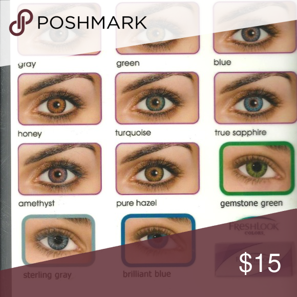 Freshlook Colorblends I Have Blue Honey Pure Hazel Grey Green Turquoise Sterling Grey An Contact Lenses Colored Coloured Contact Lenses Eye Color Chart