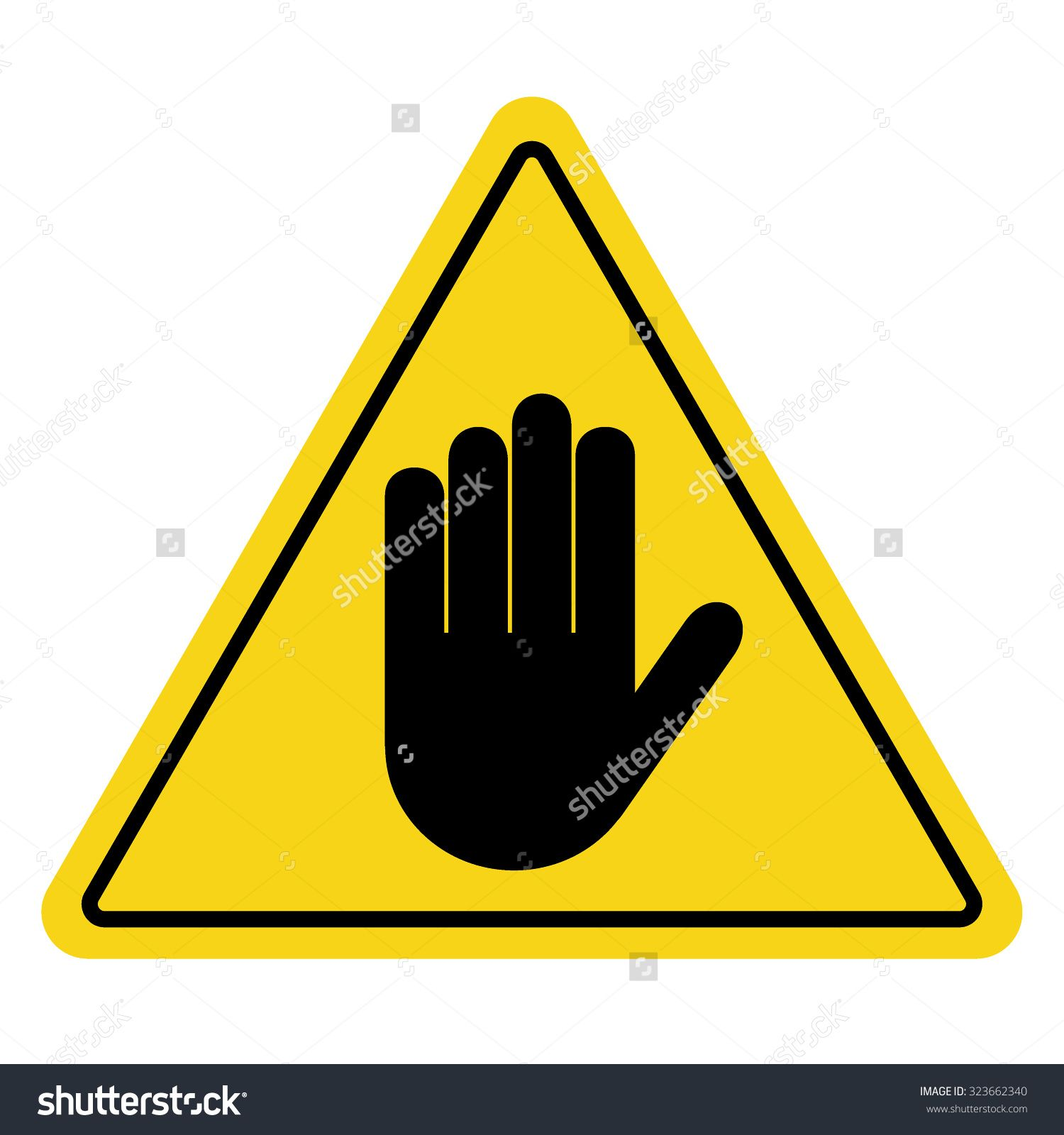 Stop no entry hand sign on yellow background attention no entry hand sign on yellow background hand symbol for prohibited activities vector illustration you can simply change color and size buy this stock buycottarizona