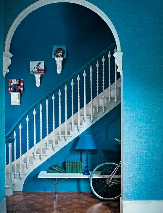 Pin By Katie Beach On Townhouse Hallway Pictures Blue Hallway Blue Color Schemes