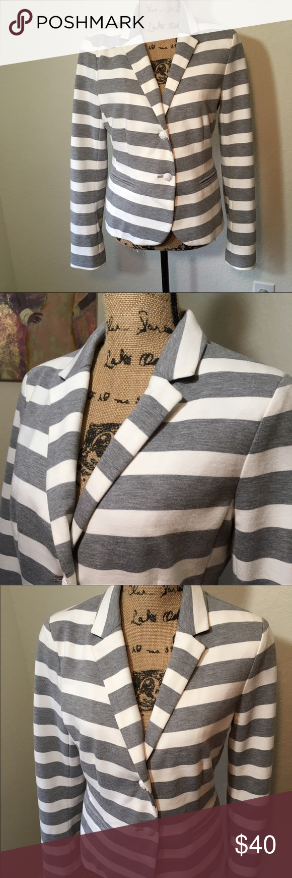 GAP Gray & White Striped Academy Blazer GAP Gray & White Striped Academy Blazer. Lined. Slight staining along collar in closeup picture. Minor Piling. In overall excellent condition. GAP Jackets & Coats Blazers