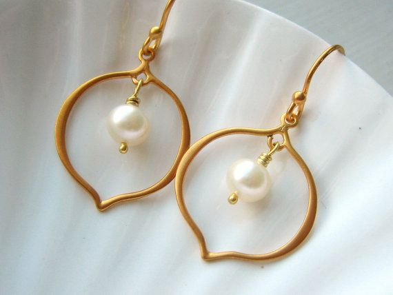 My pearl flower petal earrings, now available in gold vermeil.
