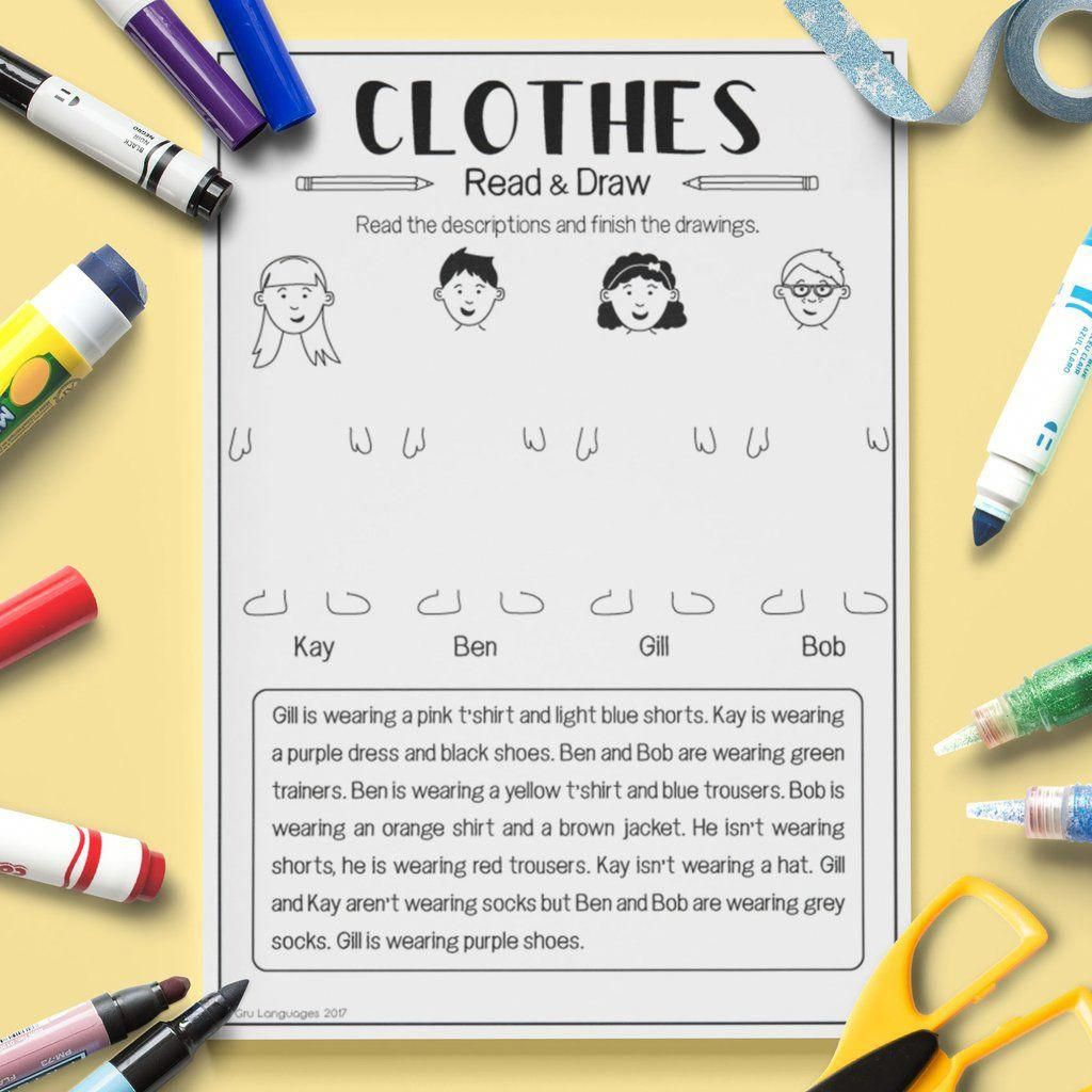 Esl Kids Clothes Read And Draw Activity Worksheet Esl