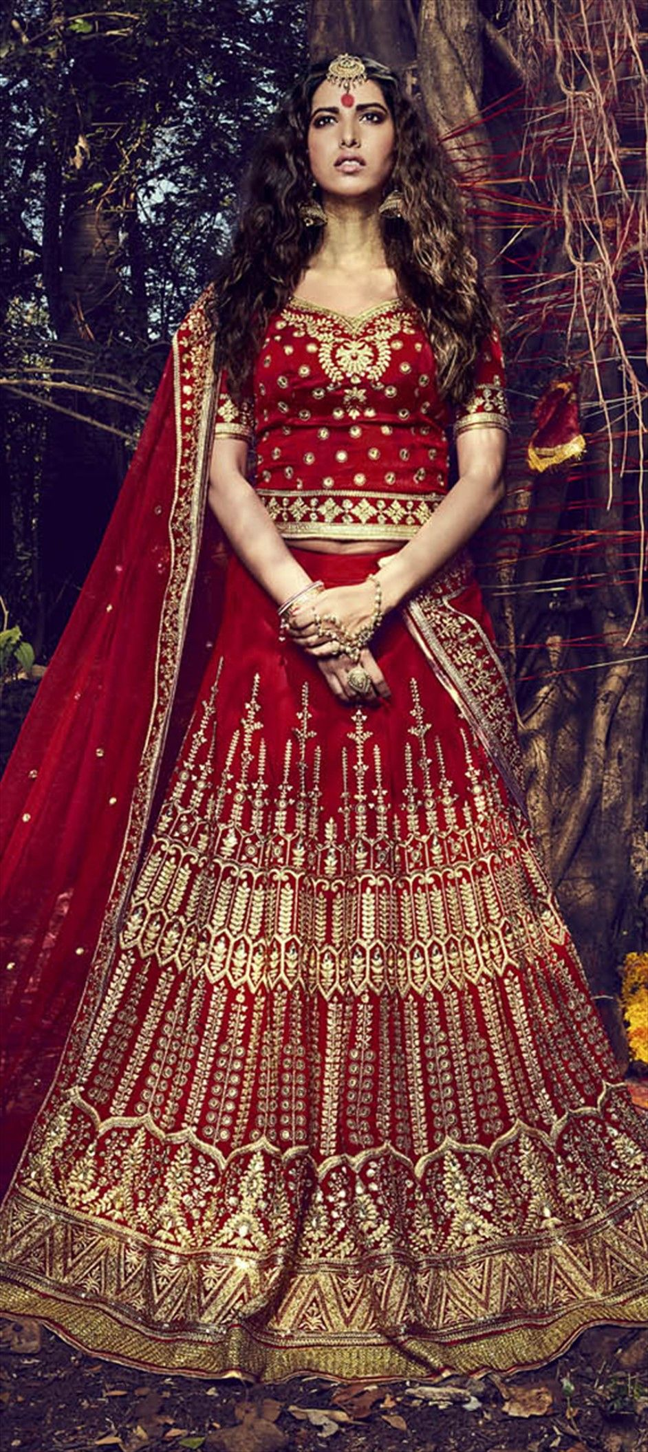732153: Red and Maroon color family Brides maid Lehenga, Mehendi ...