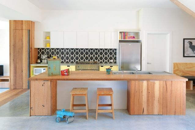 Jack and Jill House by Breathe Architecture - timber, white, bold splashback tiles