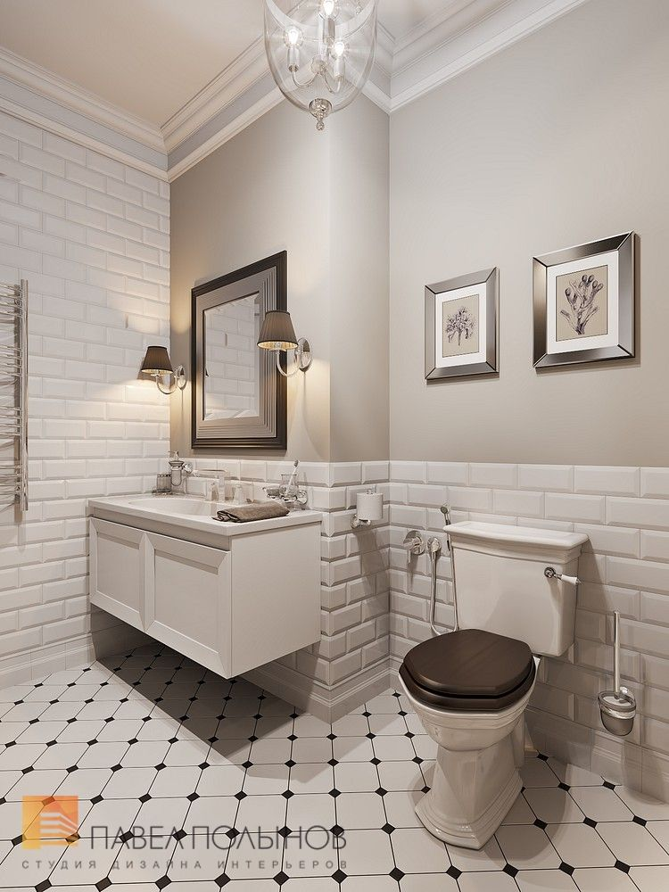 Дизайн ванной комнаты в стиле американской неоклассики, ЖК ...