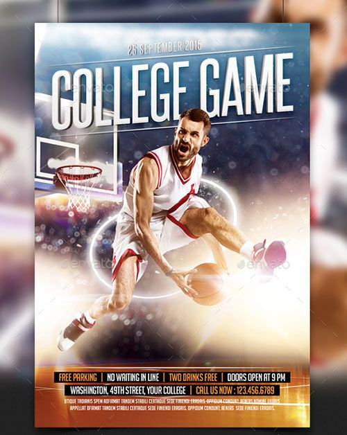 College Basketball Game Flyer Template I Love To Play Sport With