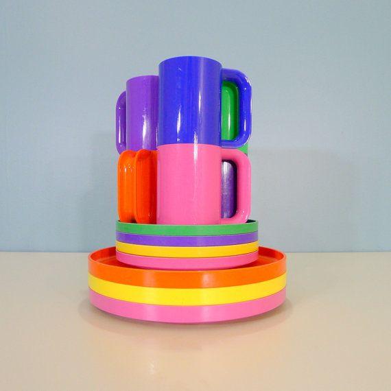 13 pc. Vintage Heller by Massimo Vignelli Dinnerware Set, Stacking, Rainbow, Minimalist, Melamine, Mid Century Modern, Mod