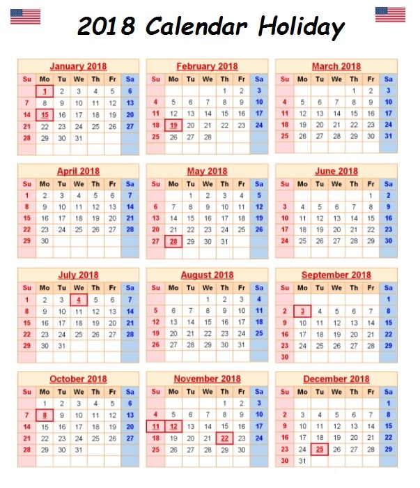 2018 Calendar With Holidays United States