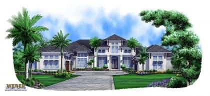 beach style house plans 5377 square foot home 1 story 4 bedroom and 4 bath 5 garage stalls by monster house plans plan - Caribbean Homes Designs