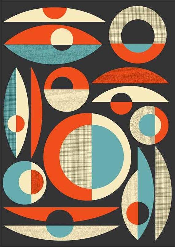 Mid Century Modern Poster Print Abstract Art Modernist Retro Composition Minimalist A3