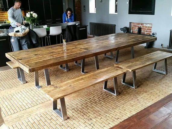 Bespoke Industrial Style Dining Table With Steel Legs 1 5m 4m Long Special Xmas Price Industrial Style Dining Table Dining Table Diy Dining Room Table