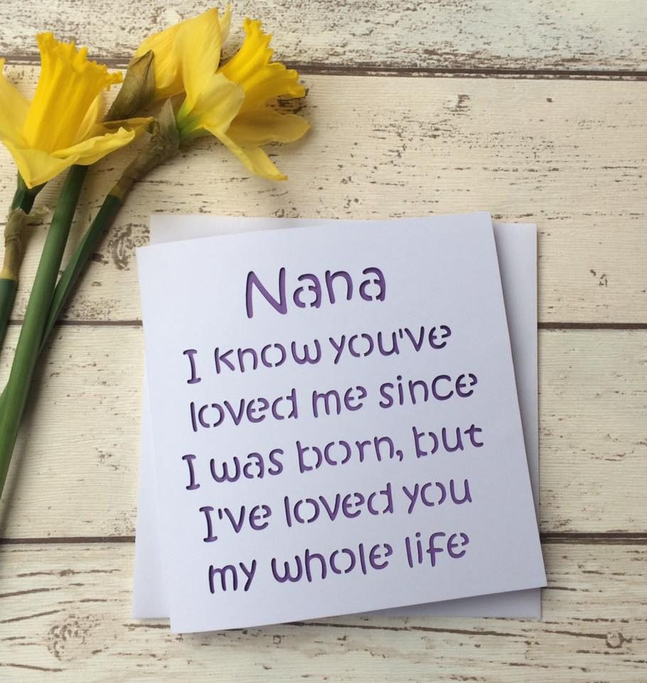 Card for nana mothers day card mothers day nana nana birthday